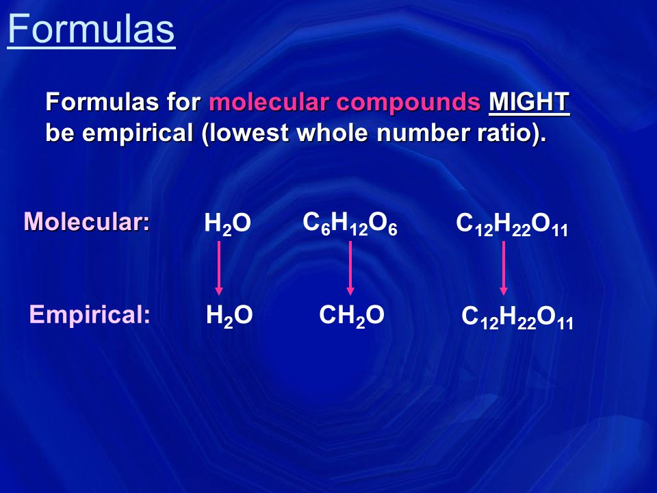 Formulas Formulas for molecular compounds MIGHT be empirical (lowest whole number ratio). Molecular: