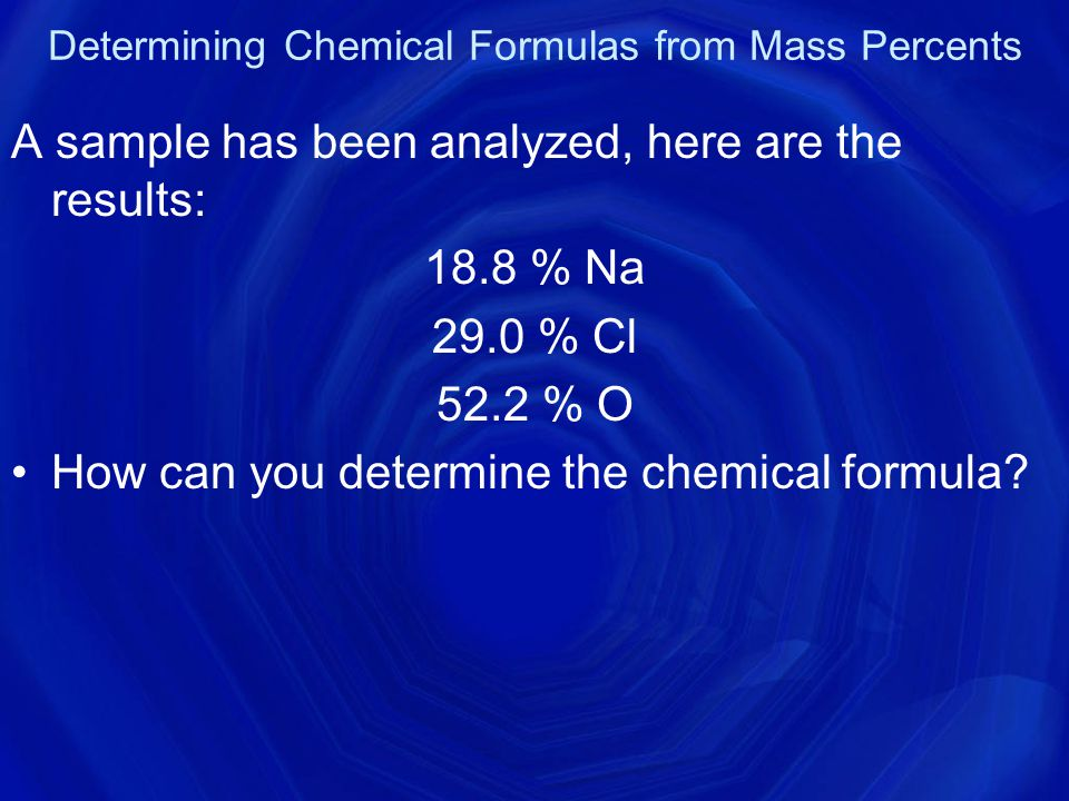 Determining Chemical Formulas from Mass Percents