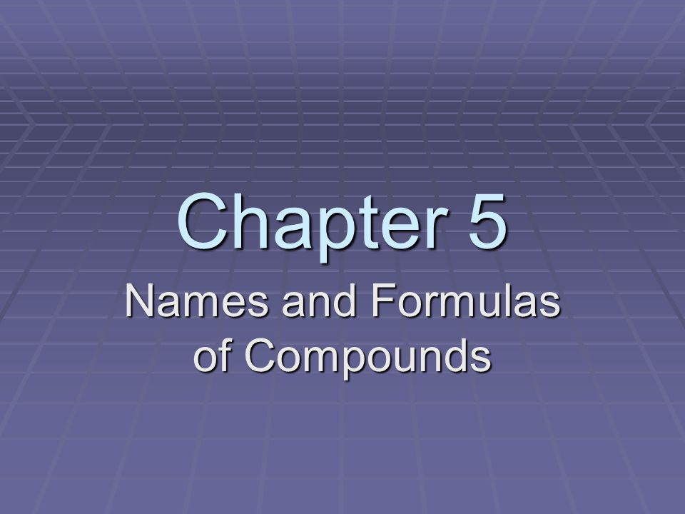 Names and Formulas of Compounds