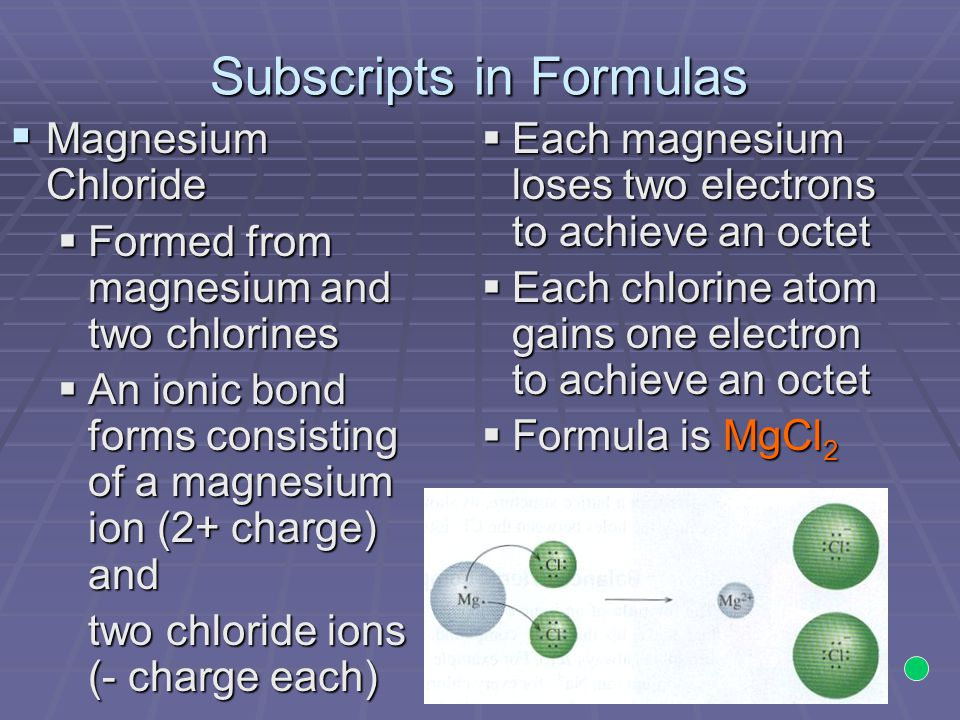 Subscripts in Formulas