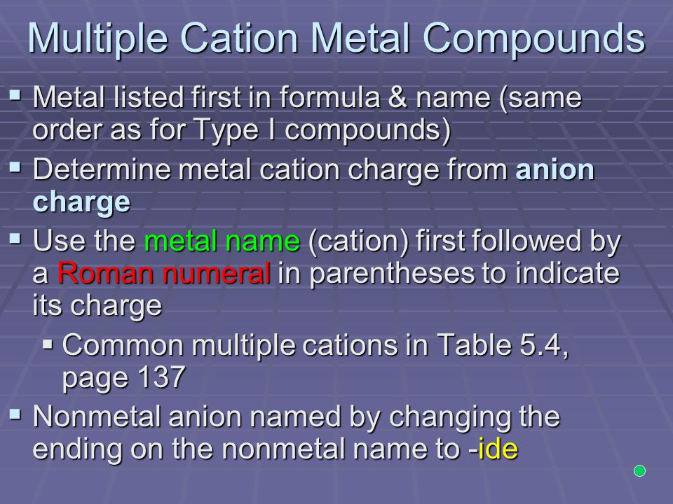 Multiple Cation Metal Compounds