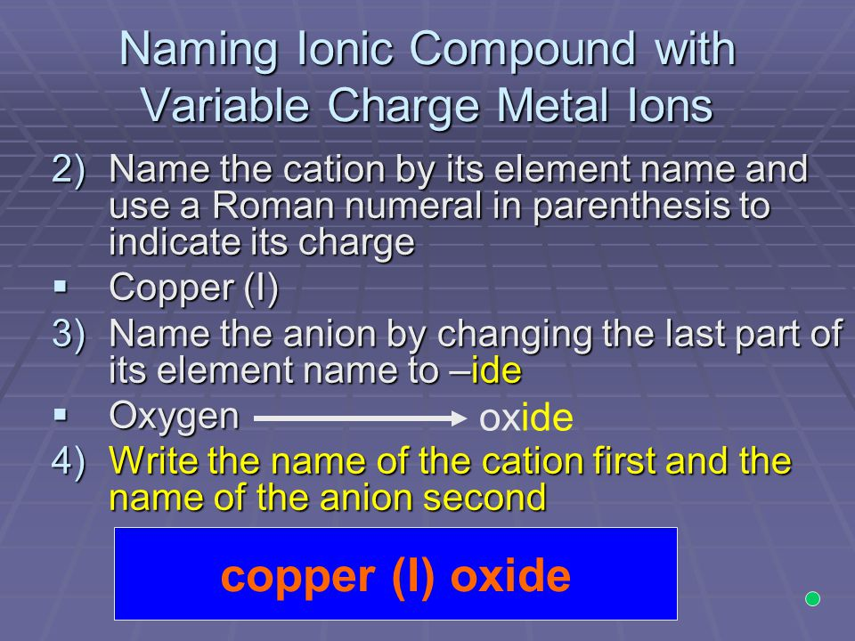 Naming Ionic Compound with Variable Charge Metal Ions