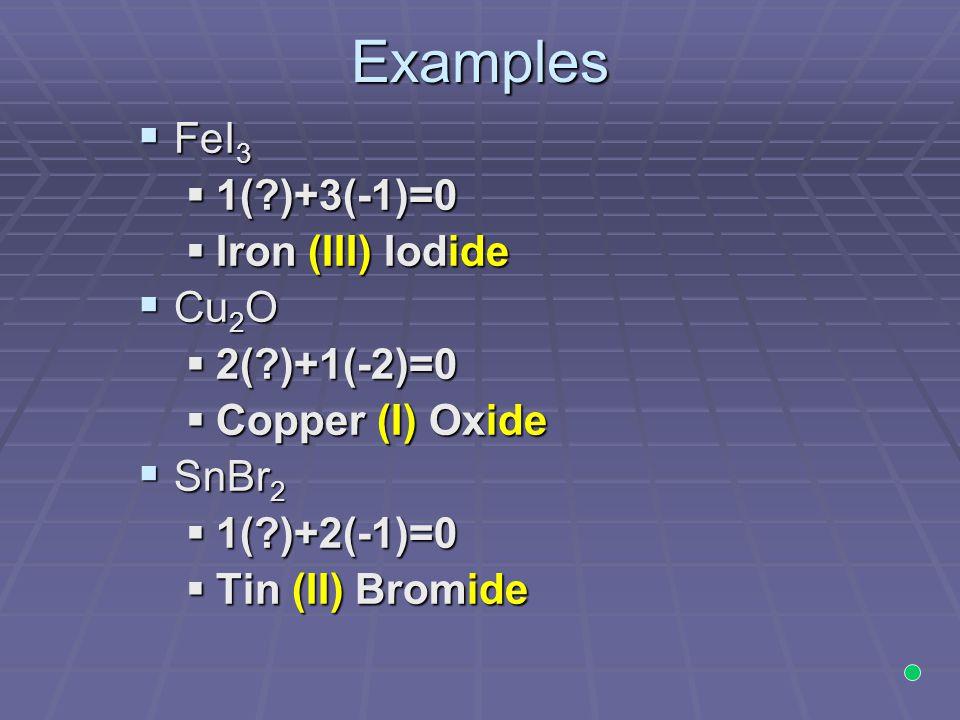 Examples FeI3 1( )+3(-1)=0 Iron (III) Iodide Cu2O 2( )+1(-2)=0