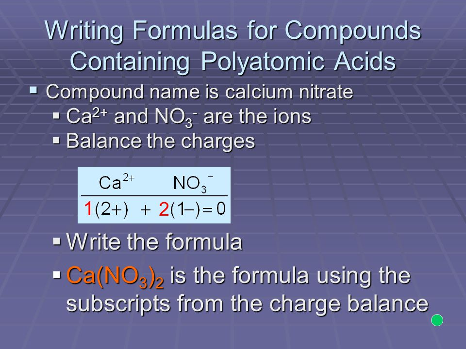 Writing Formulas for Compounds Containing Polyatomic Acids