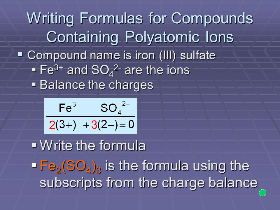 Writing Formulas for Compounds Containing Polyatomic Ions