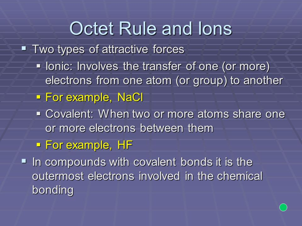Octet Rule and Ions Two types of attractive forces