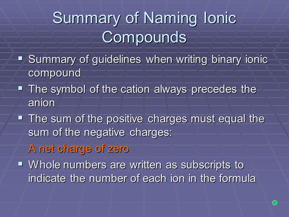 Summary of Naming Ionic Compounds