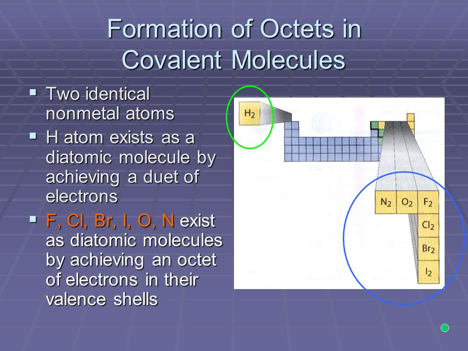 Formation of Octets in Covalent Molecules