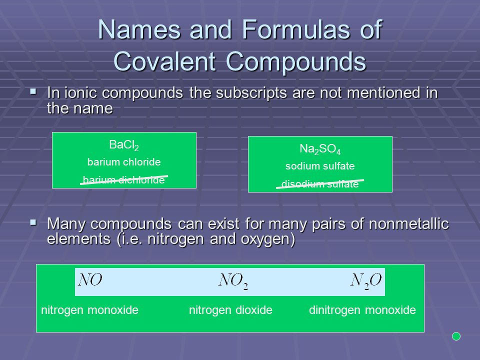 Names and Formulas of Covalent Compounds