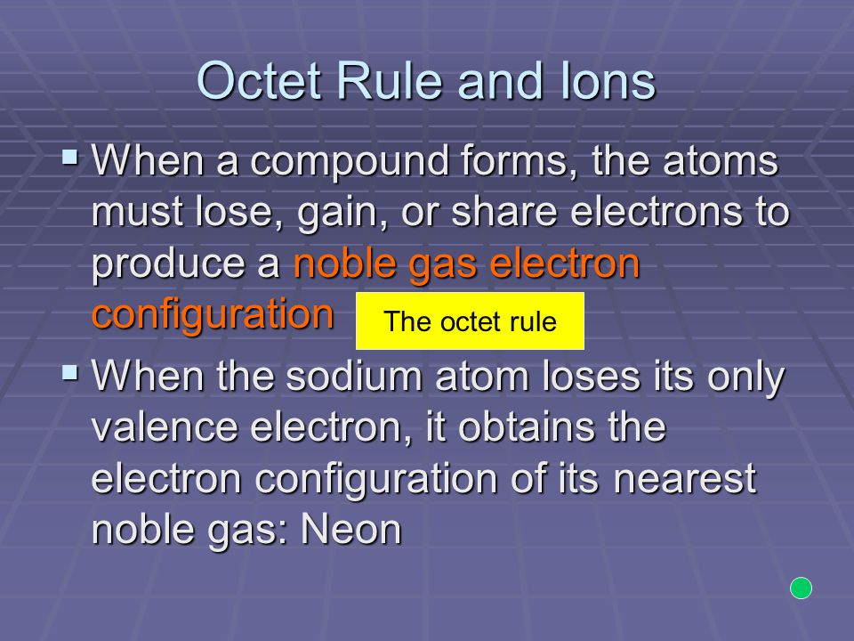 Octet Rule and Ions When a compound forms, the atoms must lose, gain, or share electrons to produce a noble gas electron configuration.