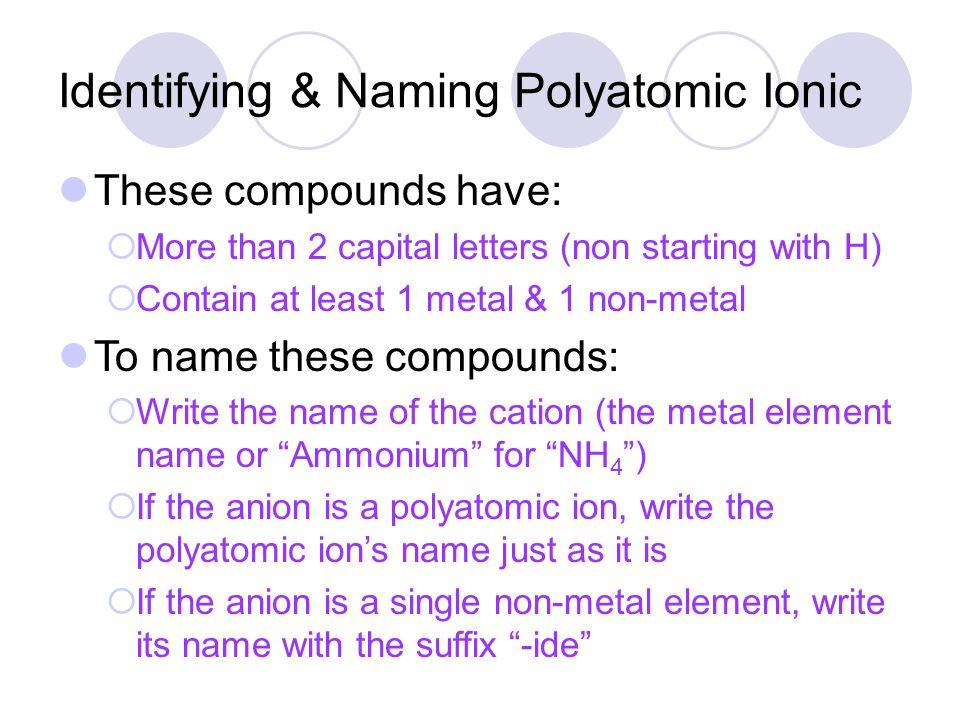 Identifying & Naming Polyatomic Ionic