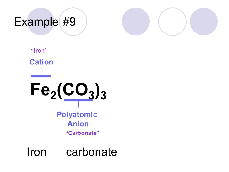 Fe2(CO3)3 Example #9 Iron carbonate Cation Polyatomic Anion Iron