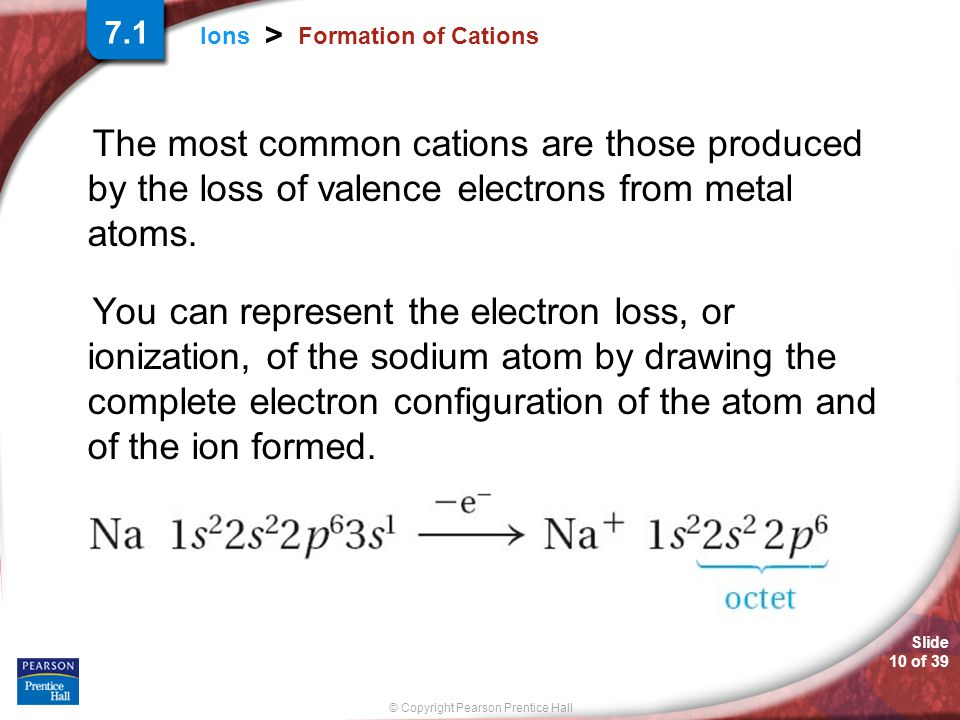 7.1 Formation of Cations. The most common cations are those produced by the loss of valence electrons from metal atoms.