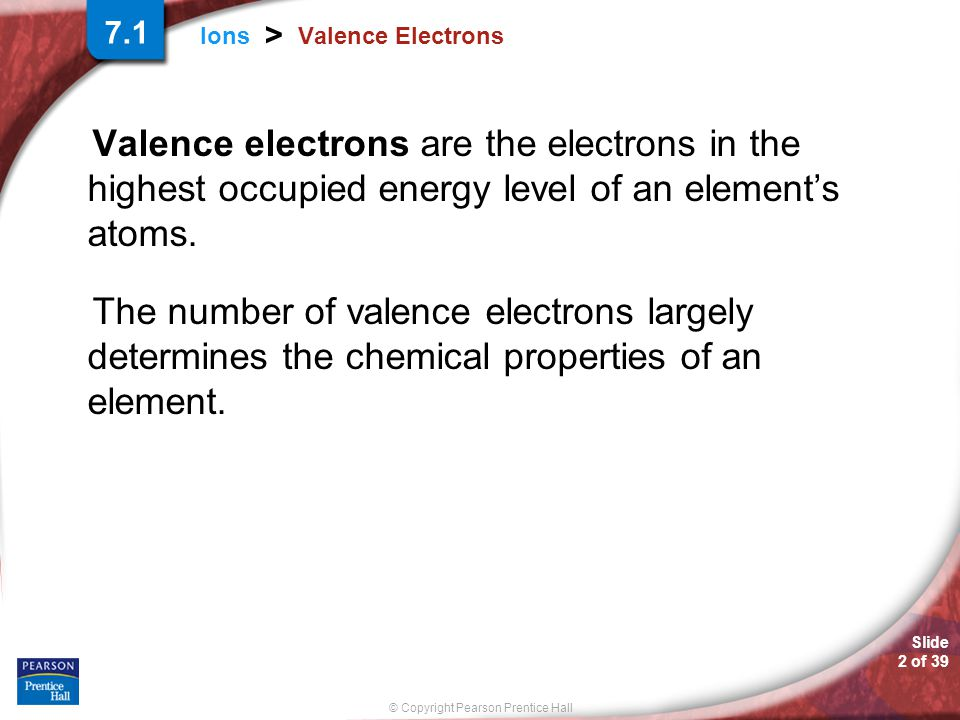 7.1 Valence Electrons. Valence electrons are the electrons in the highest occupied energy level of an element's atoms.