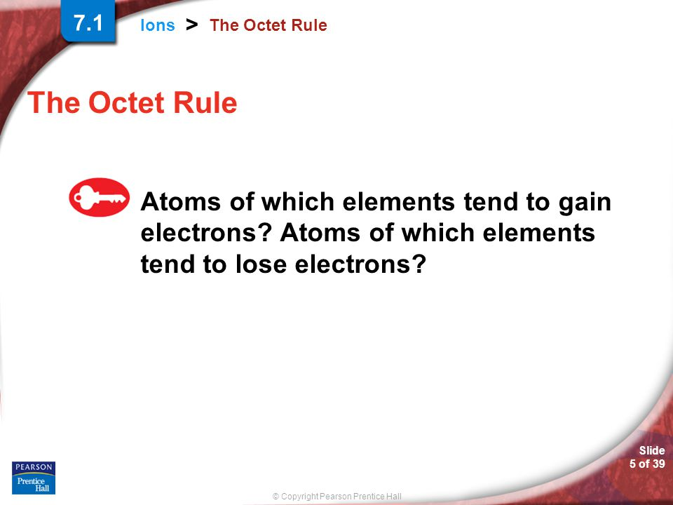 7.1 The Octet Rule. The Octet Rule. Atoms of which elements tend to gain electrons.