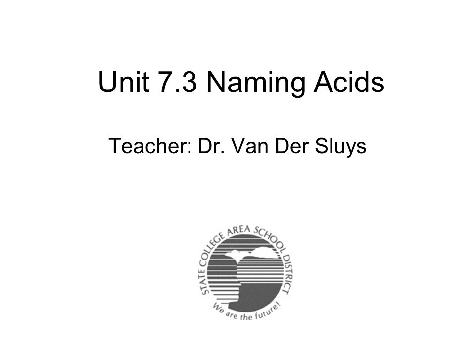 Teacher: Dr. Van Der Sluys