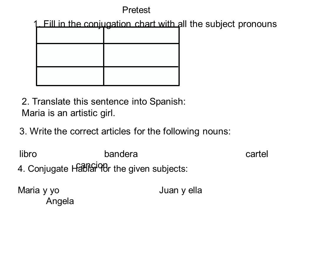 1. Fill in the conjugation chart with all the subject pronouns