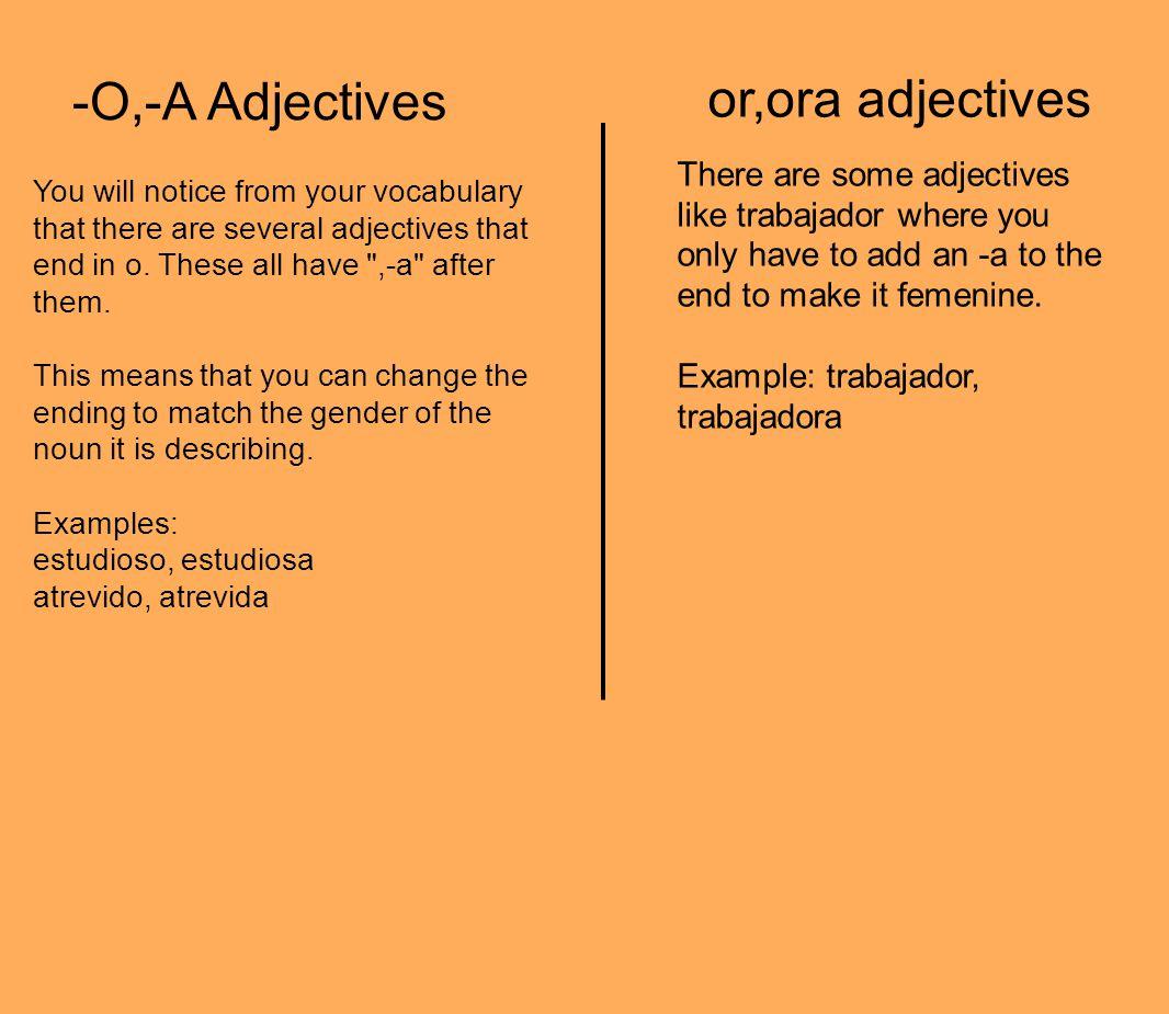 -O,-A Adjectives or,ora adjectives