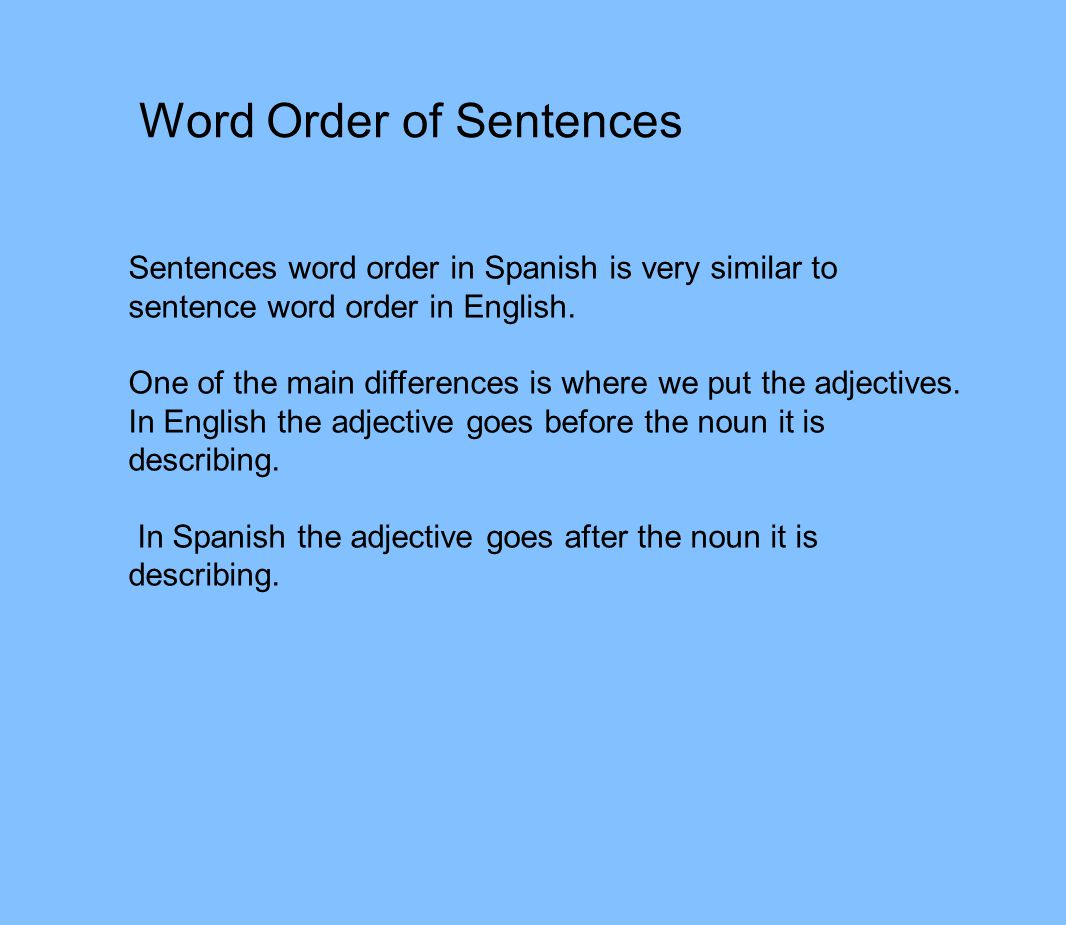 Word Order of Sentences