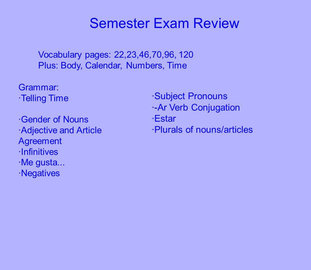 Semester Exam Review ·Subject Pronouns ·-Ar Verb Conjugation ·Estar