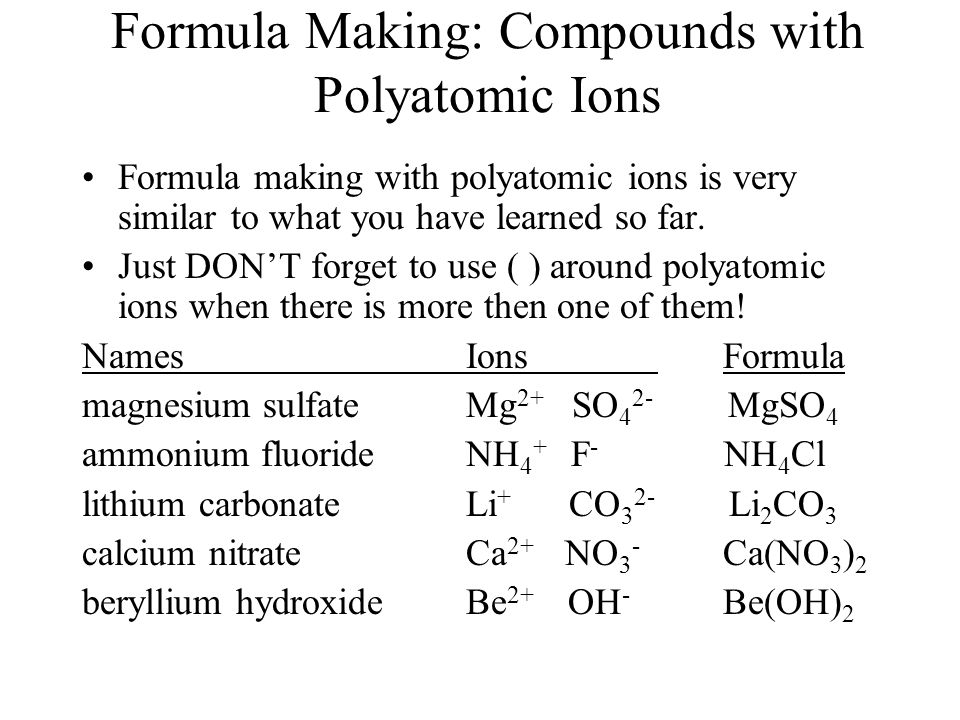 Formula Making: Compounds with Polyatomic Ions