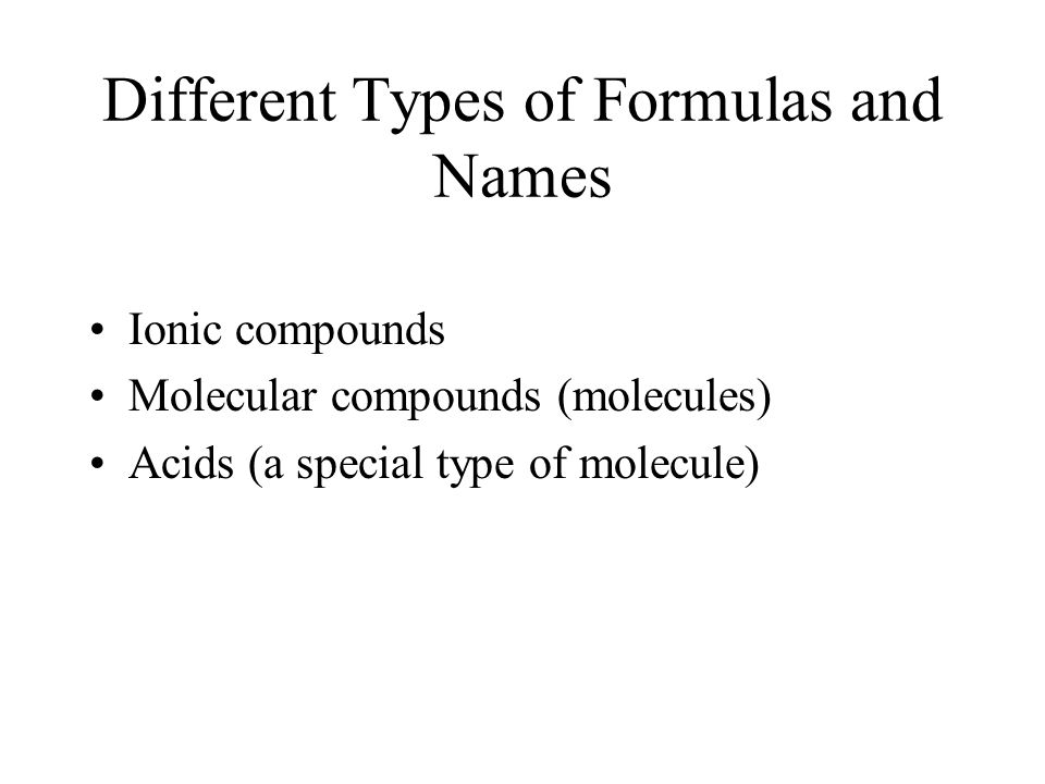 Different Types of Formulas and Names