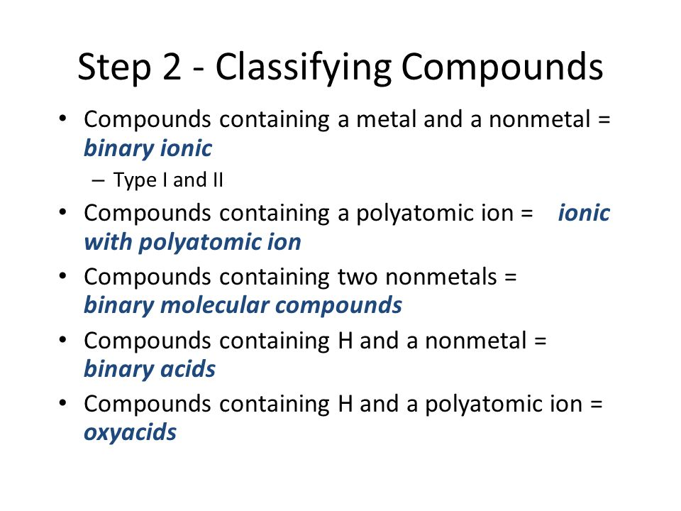 Step 2 - Classifying Compounds