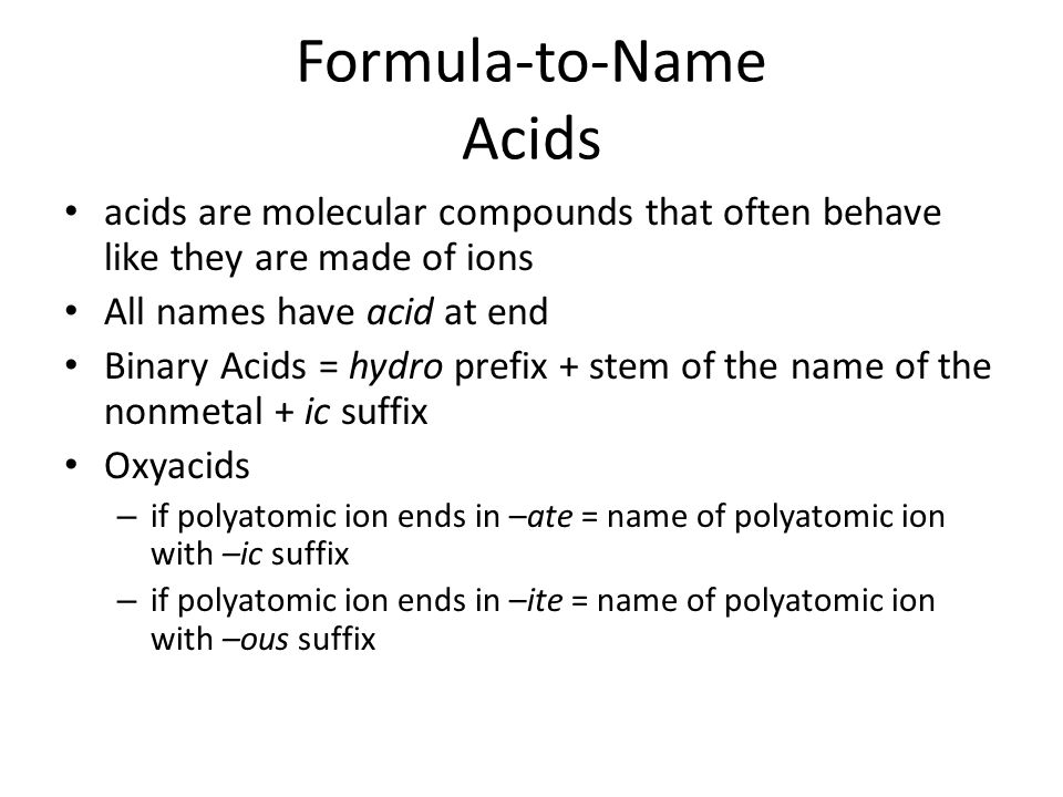 Formula-to-Name Acids
