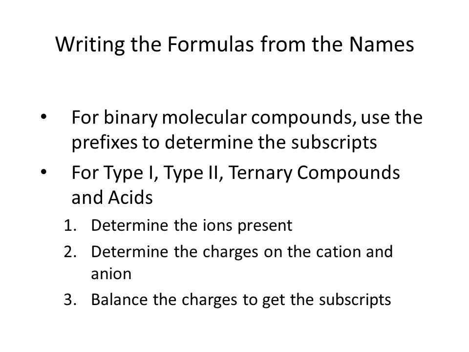 Writing the Formulas from the Names
