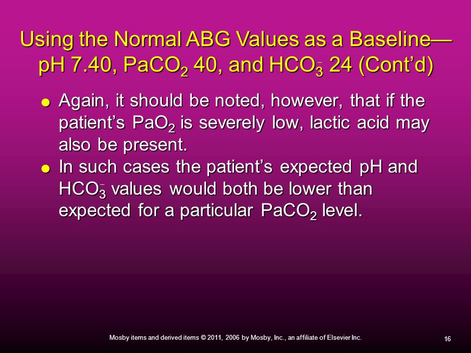 Using the Normal ABG Values as a Baseline— pH 7