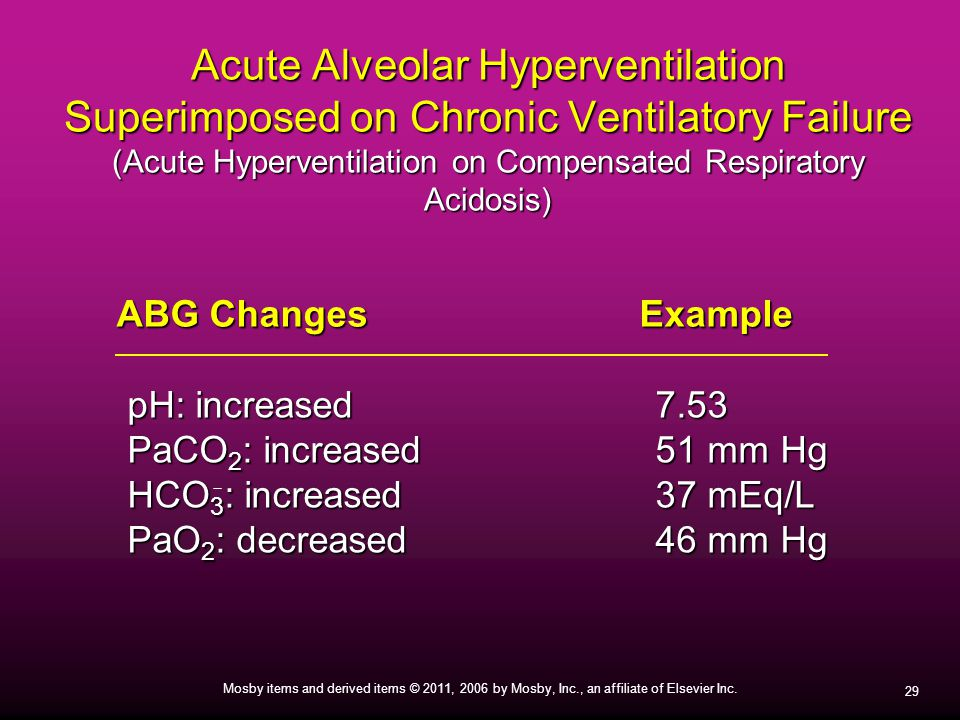 Acute Alveolar Hyperventilation Superimposed on Chronic Ventilatory Failure (Acute Hyperventilation on Compensated Respiratory Acidosis)