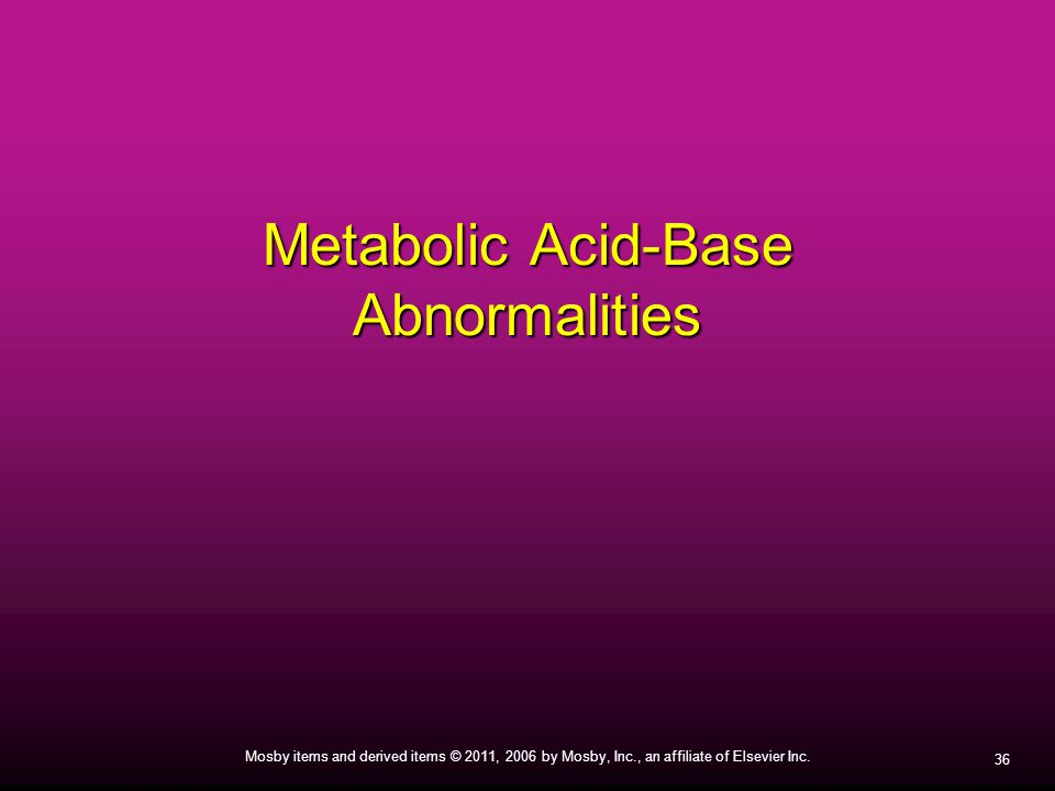 Metabolic Acid-Base Abnormalities