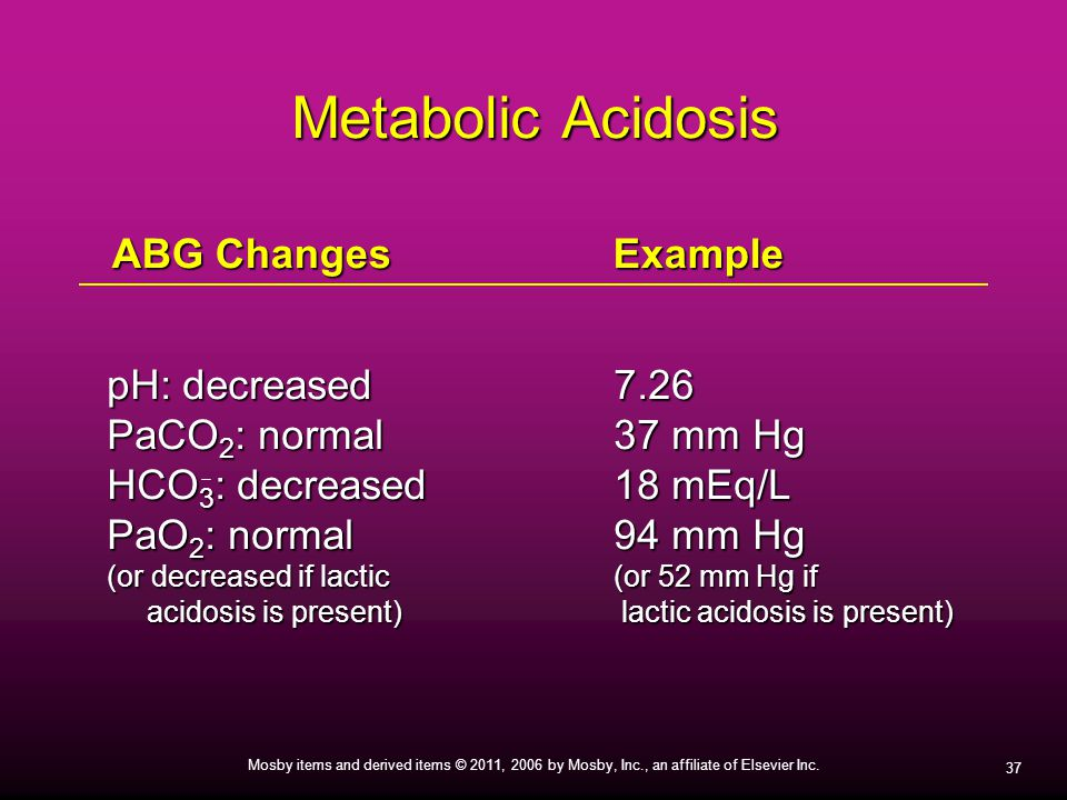 Metabolic Acidosis ABG Changes Example pH: decreased 7.26