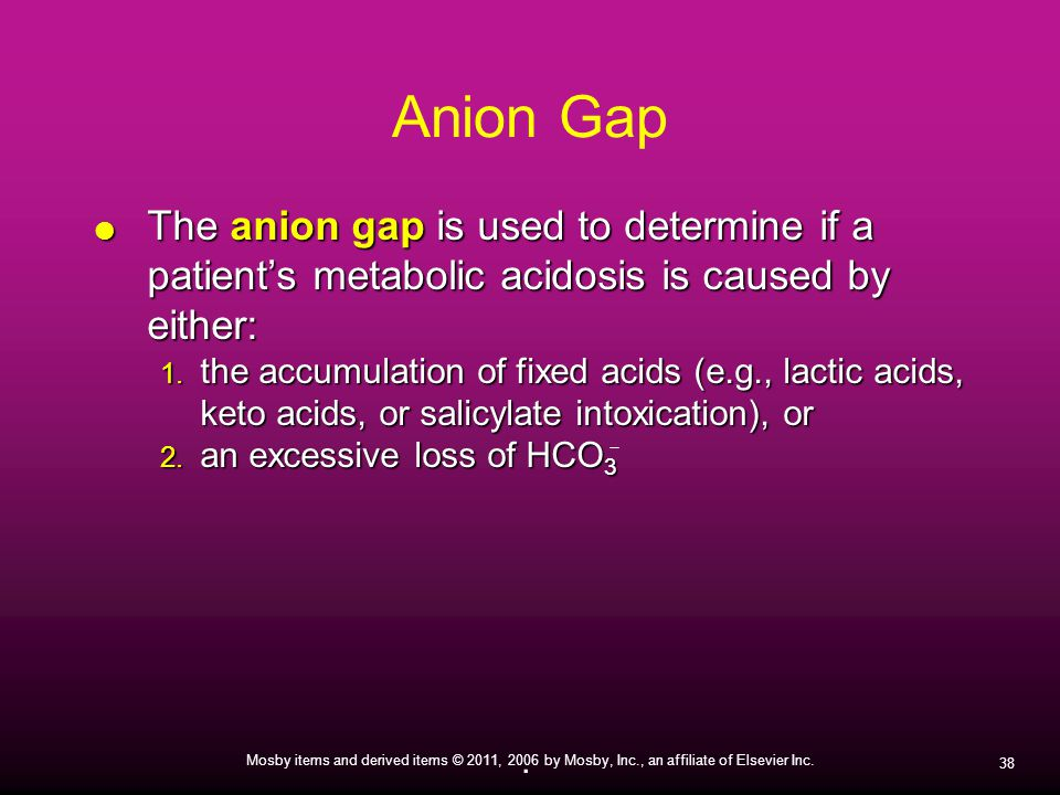 Anion Gap The anion gap is used to determine if a patient's metabolic acidosis is caused by either: