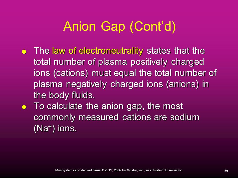 Anion Gap (Cont'd)