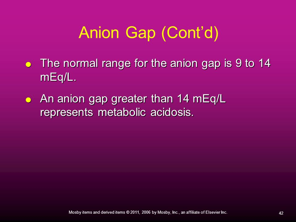 Anion Gap (Cont'd) The normal range for the anion gap is 9 to 14 mEq/L.
