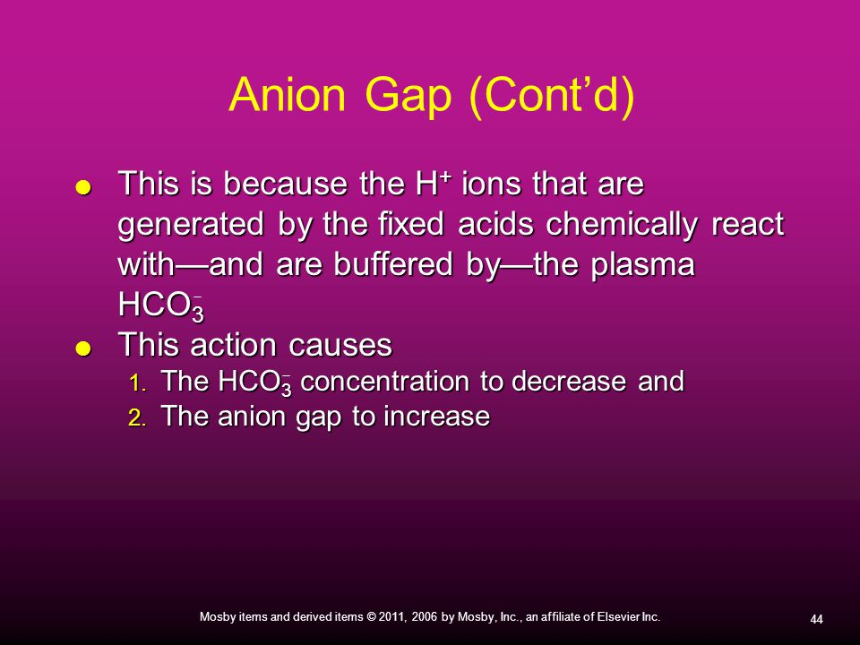 Anion Gap (Cont'd) This is because the H+ ions that are generated by the fixed acids chemically react with—and are buffered by—the plasma HCO3.