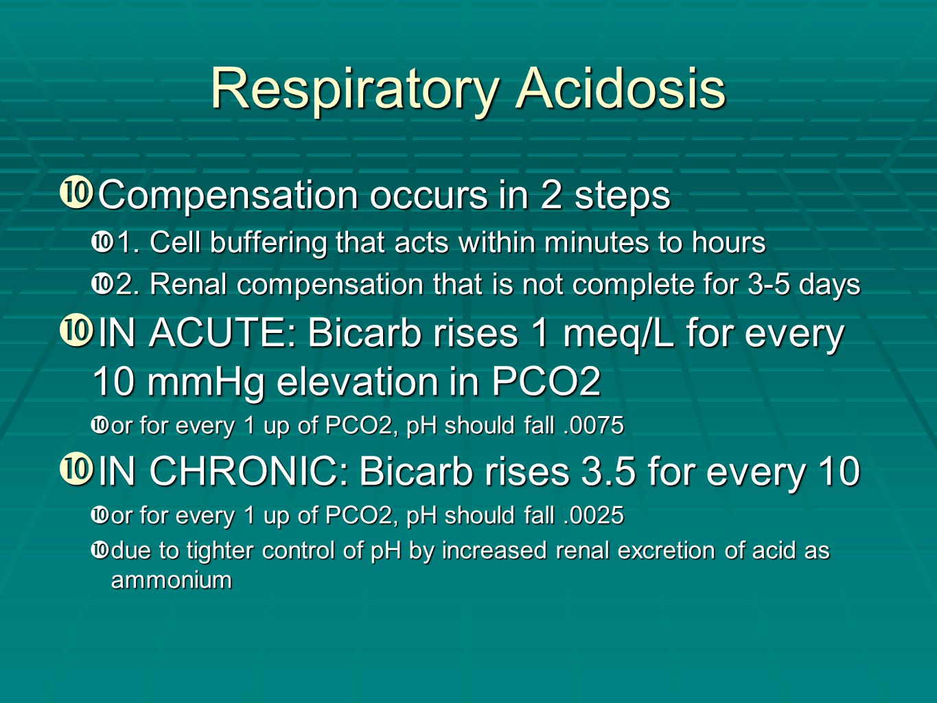 Respiratory Acidosis Compensation occurs in 2 steps
