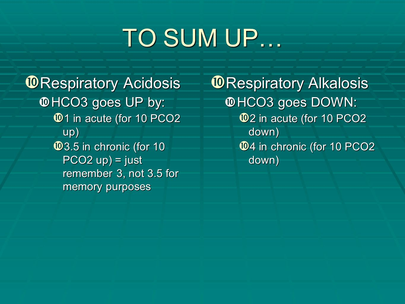 TO SUM UP… Respiratory Acidosis Respiratory Alkalosis HCO3 goes UP by: