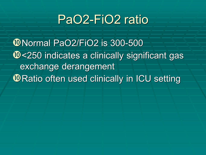 PaO2-FiO2 ratio Normal PaO2/FiO2 is 300-500