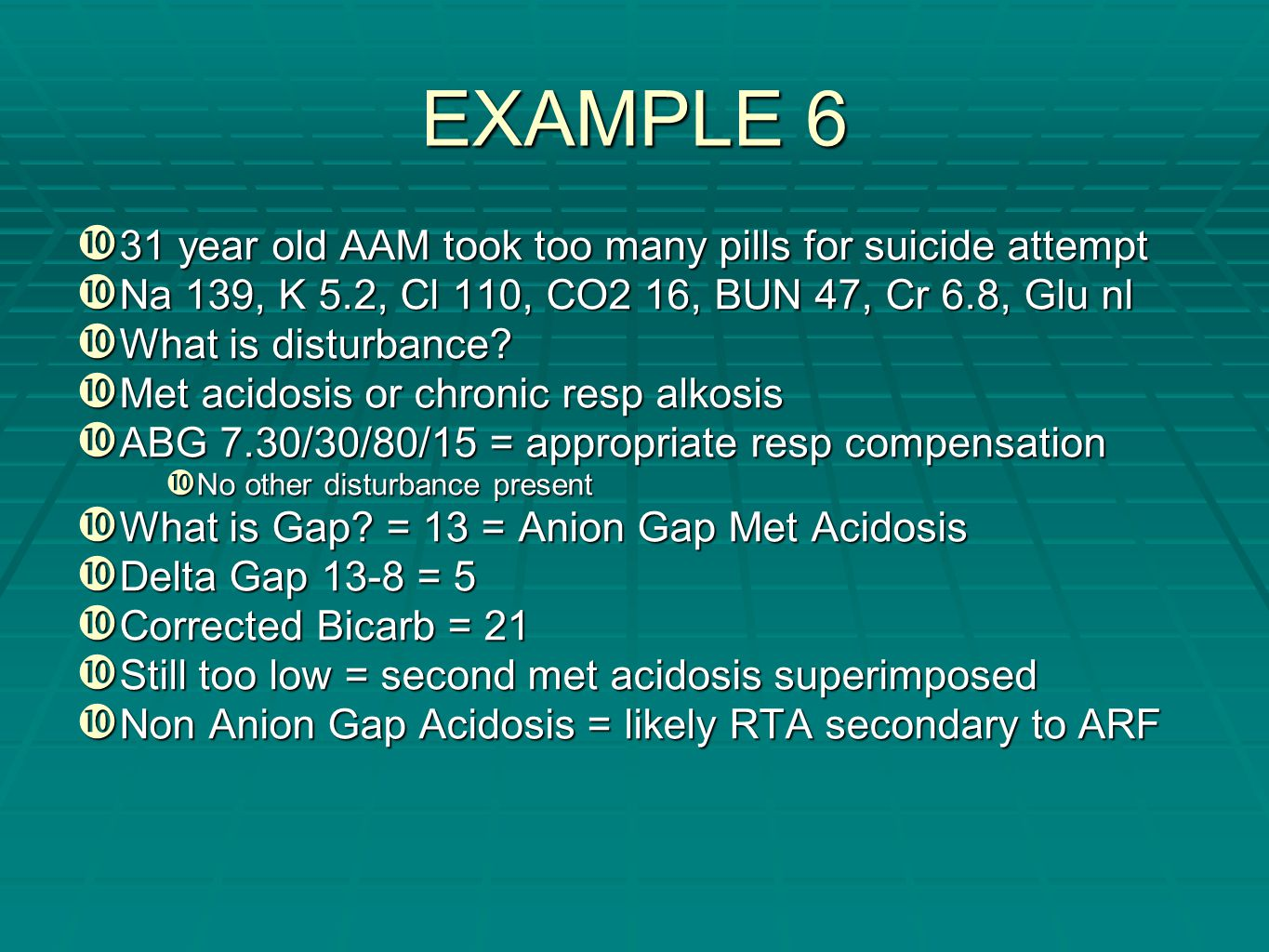 EXAMPLE 6 31 year old AAM took too many pills for suicide attempt