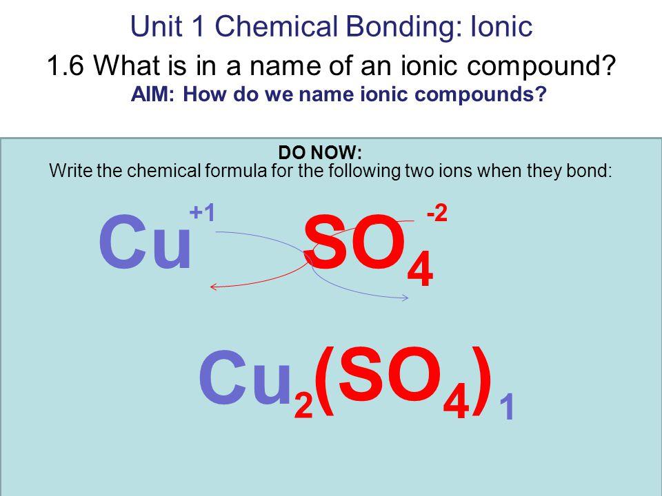 Unit 1 Chemical Bonding: Ionic