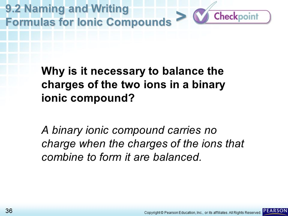 Why is it necessary to balance the charges of the two ions in a binary ionic compound