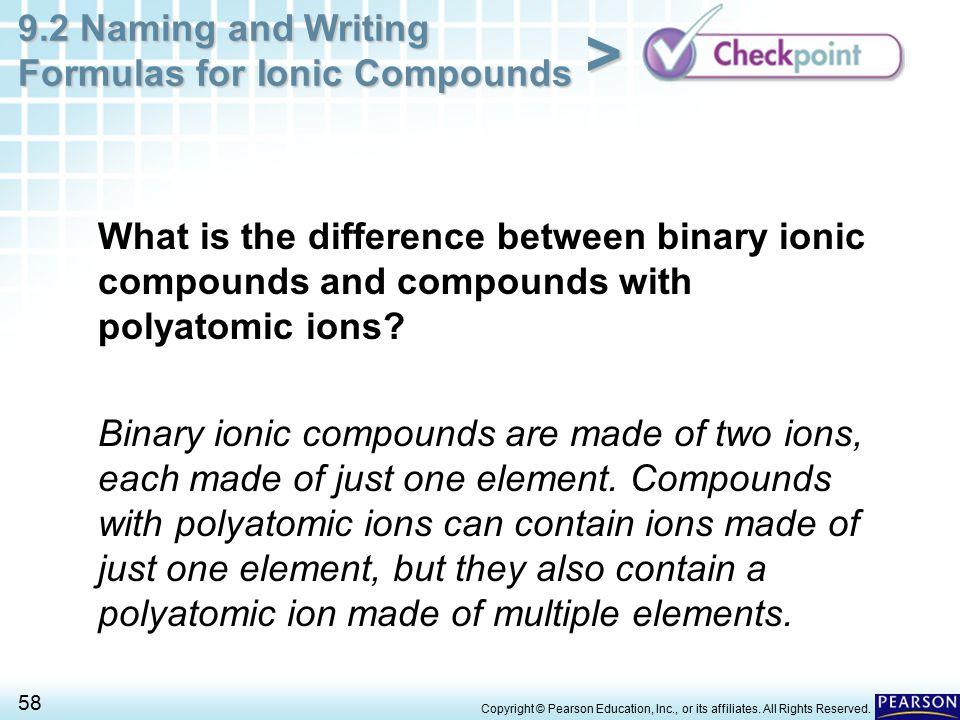 What is the difference between binary ionic compounds and compounds with polyatomic ions