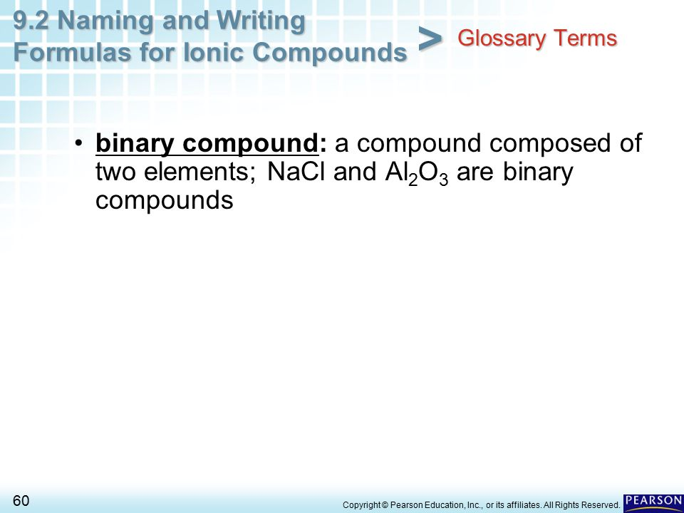 Glossary Terms binary compound: a compound composed of two elements; NaCl and Al2O3 are binary compounds.