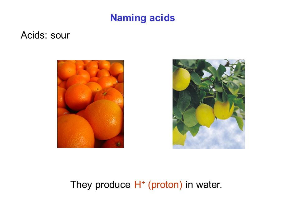 Naming acids Acids: sour They produce H+ (proton) in water.
