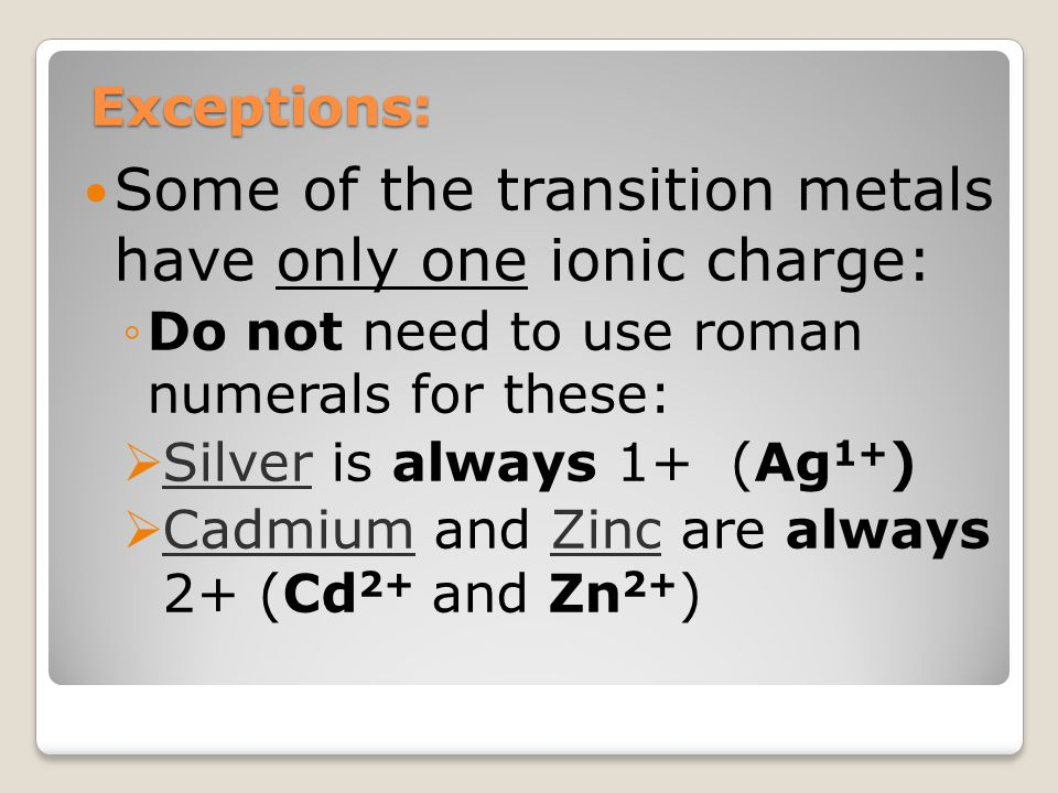 Some of the transition metals have only one ionic charge: