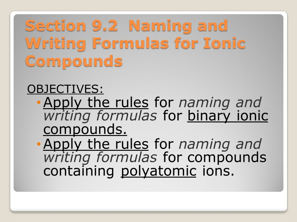 "Chapter 9 ""Chemical Names and Formulas"" - ppt download"