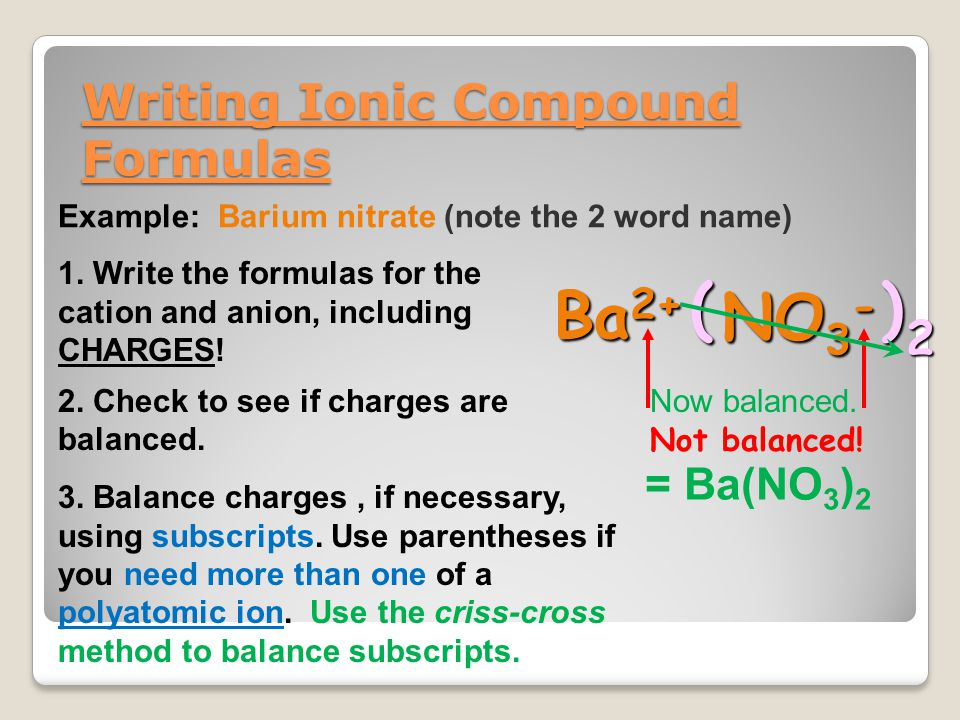 Writing Ionic Compound Formulas