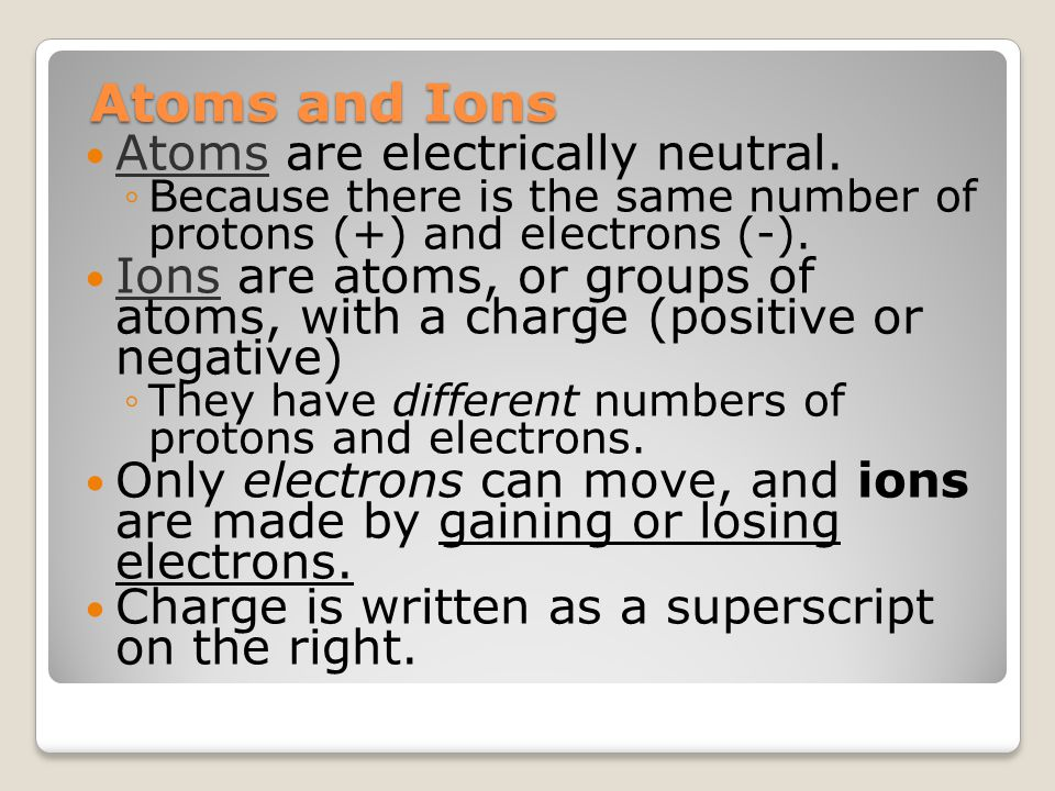 Atoms and Ions Atoms are electrically neutral.